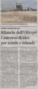 Articolo della Gazzetta di Mantova del 25 febbraio 2017 dedicato al Premio Marketing 2017