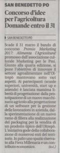 Articolo della Gazzetta di Mantova del 12 marzo 2017 dedicato al Premio Marketing 2017
